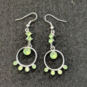 Silver and Green Glass drop earrings